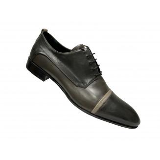 Туфли мужские Vinicio Camerlengo серые с серыми и синими вставками