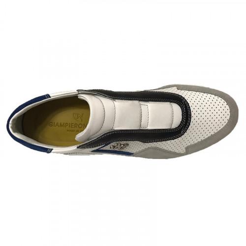 Кроссовки мужские Giampieronicola белые с серыми и синими вставками