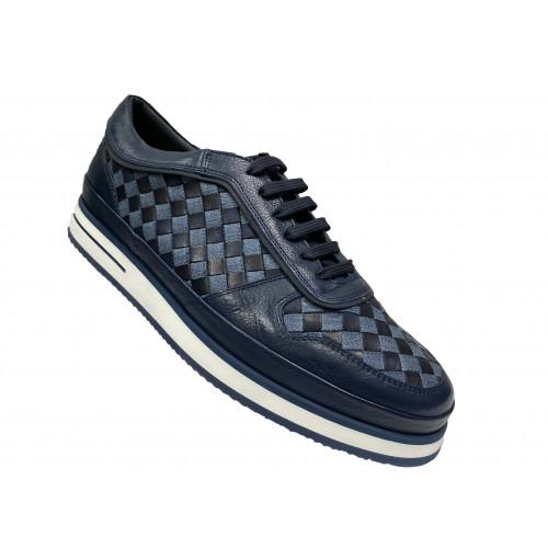 Кроссовки мужские Giampieronicola синие с серыми ставками