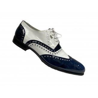 Туфли мужские Giovanni Ciccioli белые с серыми и синими вставками