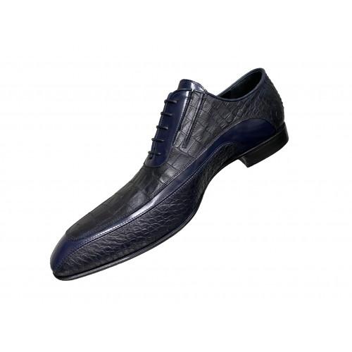 Туфли мужские Vinicio Camerlengo черные с серыми и синими вставками