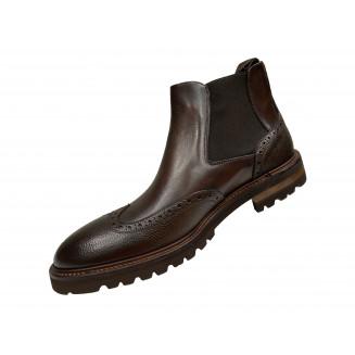 Ботинки мужские Vito della Mora из натуральной кожи двух оттенков коричневого цвета
