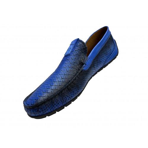 Мокасины мужские Vinicio Camerlengo синие с черными вставками